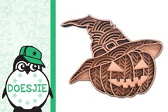 Layered mandala Pumpkin Halloween 3D SVG pumpkin with hat Product Image 3