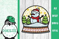 Snow globe Christmas svg layered mandala multi layer snowman Product Image 2