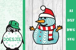 Snowman Christmas multi layer mandala 3d layered svg winter Product Image 2