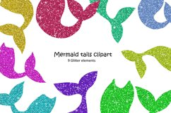 Mermaid Tail Clipart. Glitter Elements Product Image 1
