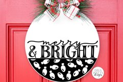 Merry And Bright   Christmas Lights Door Hanger Design Product Image 2