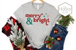 Retro Merry and Bright Christmas SVG PNG DXF Hand Lettered Product Image 4