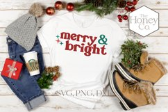 Retro Merry and Bright Christmas SVG PNG DXF Hand Lettered Product Image 3