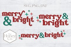 Retro Merry and Bright Christmas SVG PNG DXF Hand Lettered Product Image 1