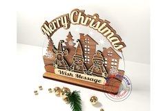 Merry Christmas greetings, ornament. Glowforge ready.