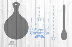 Merry Christmas Cutting Board Spoon SVG Glowforge Files Product Image 2