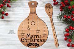 Merry Christmas Cutting Board Spoon SVG Glowforge Files Product Image 1