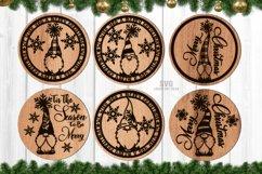 Merry Christmas Gnome Coaster Set SVG Glowforge Files Product Image 1