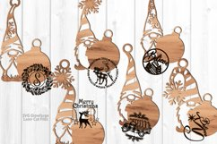 Merry Christmas Gnome Ornament SVG Glowforge Laser Files Product Image 3