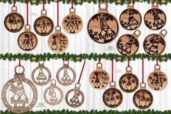 Christmas Gnome Ornament SVG Glowforge Laser Files Bundle Product Image 1