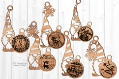 Merry Christmas Gnome Ornament SVG Glowforge Laser Files Product Image 1