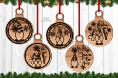 Christmas Gnome Ornament SVG Glowforge Laser Files Bundle Product Image 2