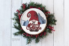 Merry Christmas Gnome Sign SVG Glowforge Laser Files Product Image 2