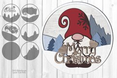 Merry Christmas Gnome Sign SVG Glowforge Laser Files Product Image 1
