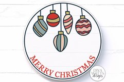 Merry Christmas Vintage Ornaments SVG | Round Sign Design Product Image 1