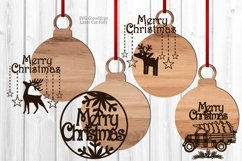 Merry Christmas Ornament SVG Glowforge Laser Files Bundle Product Image 2