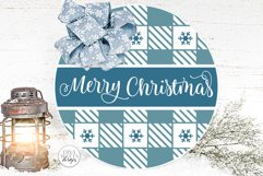 Merry Christmas Plaid Pattern SVG | Round Winter Welcome Product Image 1