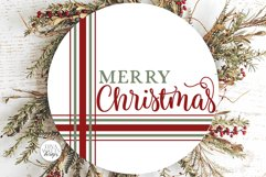 Merry Christmas Plaid SVG   Farmhouse Round Design Product Image 1