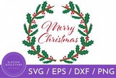 Merry Christmas SVG Design - Holly Wreath Cut File