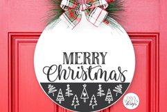 Merry Christmas SVG   Tree Pattern Door Hanger Design Product Image 1