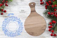 Monogram Christmas Wreath Cutting Board SVG Glowforge Files Product Image 2