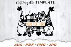 Fall Garden Gnome Monogram SVG Cut Files Product Image 3