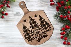Monogram Christmas Cutting Board SVG Glowforge Files Sign Product Image 1
