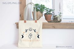 Moon phases with flower svg for tote bags design