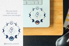 Moon phases with flower svg for laptop stickers, sublimation design