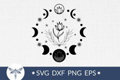 Moon phases with flower svg for wall print