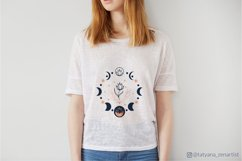 Moon phases with flower svg for girl t shirt design