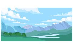 Mountain landscape with forest and river water stream Product Image 1