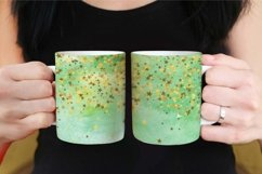 Sublimation Mug Wrap PNG Green Watercolor with Gold Stars Product Image 2