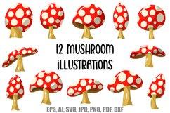 Mushroom Cartoon Illustrations 12 By Squeeb Creative