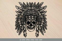 Native American Skull Papercut SVG Product Image 1