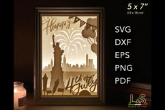 4th of July Layered svg Shadow Box Independence Day Lightbox Product Image 1