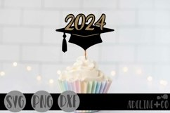 2024 Graduation cap, Cake topper, SVG, PNG, DXF Product Image 1