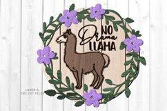Llama Floral Shiplap Round Sign SVG Glowforge Laser Files Product Image 3