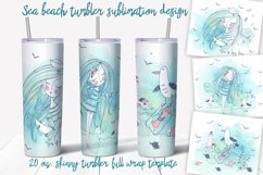Sea beach with cute girls tumbler sublimation design Png. Product Image 1