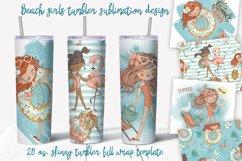 Beach girls tumbler sublimation design 20 oz skinny Product Image 1