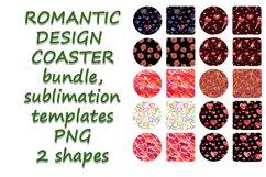 Romantic Coaster Sublimation Template Bundle, Key Chain, Product Image 1