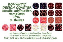 Romantic Coaster Sublimation Template Bundle, Key Chain, Product Image 2