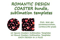 Romantic Coaster Sublimation Template Bundle, Key Chain, Product Image 3