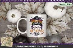 October Girl | Messy Bun | Halloween Sublimation | Momlife Product Image 3