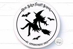 Olde Salem Flight School SVG | Halloween Round Sign Product Image 1