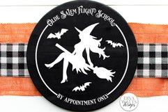 Olde Salem Flight School SVG | Halloween Round Sign Product Image 2