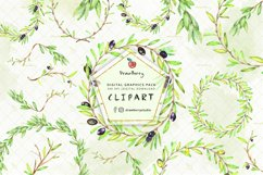 Watercolor Olive Leaves Frame / Wreath  Drawberry CP054 Product Image 1