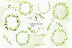 Watercolor Olive Leaves Frame / Wreath  Drawberry CP054 Product Image 2