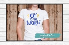 hanukkah svg cut file design oy to the world on female in white tshirt mockup
