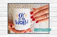 hanukkah svg cut file design oy to the world on white coffee mug mockup